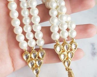 Elegant Pearl Choker with Kundan - Three Pearl Strands - Indian Jewelry, Indian Wedding Jewelry, White and Gold Choker