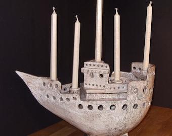 decorative candle holder as a ceramic vessel