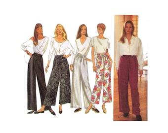 Uncut Simplicity 8745, 90s Sewing Pattern, Size L-XL Women's Pull On Pants Wide Leg, Ankle Length Pants, Elastic Waist