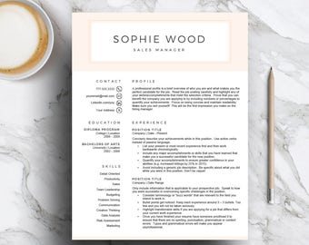 Pink Resume Template for Word & Pages | Creative CV Template (1 and 2 Page Resume,  Cover Letter, Icon Set) Resume Design | Instant Download