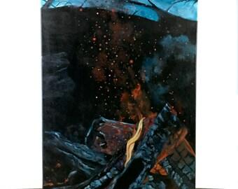 Beach Campfire Painting