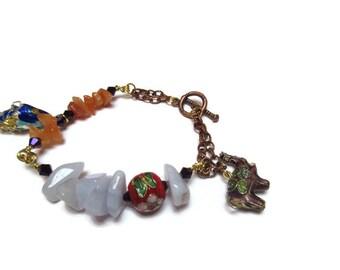 Light blue quartz and aventurine bracelet / Gemstone bracelet / Semi precious bracelet / Charm bracelet /  Gift for her / Gypsy bracelet /