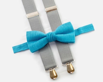 Mens Bowtie Suspenders, Turquoise Bow Tie & Light Gray Suspenders, Wedding Boys Outfit