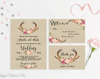 Rustic Wedding Invitation Printable Spring Wedding Invitation