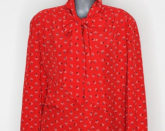 Womens Vintage Pussy Bow Blouse, Red with Dots, Country Sophisticates Button Up Shirt, Polka Dot, Size 1x - 2x