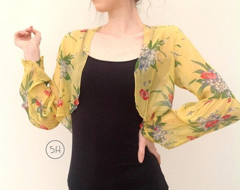 RESERVED 1930s jacket floral chiffon antique vintage Art Deco