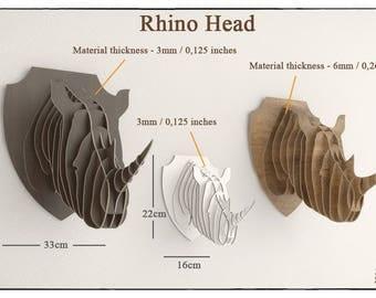 RHINO HEAD - Trophy hunting template cut file faux taxidermy  laser wall art rhinoceros head animal head, wooden puzzle Wall cnc plans 3d