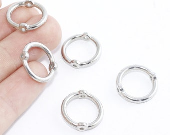 14mm Silver Brass Connector Rings , Nickel Free, Two holes, sku/X9