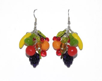 Fruit Bunch Earrings 'Carmen Miranda' inspired, Vintage 1950's Beads with Czech Glass, Lucite, Sterling-Silver Carribbean Hawaiian Dangle