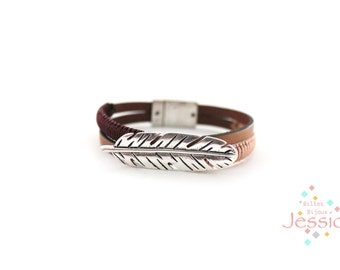 Magnetic leather bracelet, Leather light brown, Bracelet boho, Bohemina, Woman leather bracelet, Eggplant bracelet, Woman bracelet, Gift