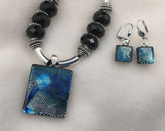 Blue Laser Etched Dichroic Glass Jewelry Set