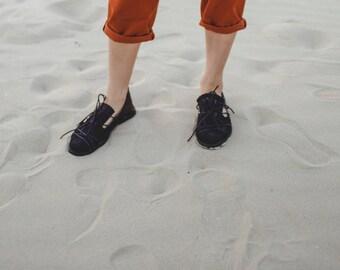SALE Flat moccasins for women, Monk strap, Black shoes, Lace-up shoes, Summer shoes,black summer moccasins, Everyday shoes, Unique shoes