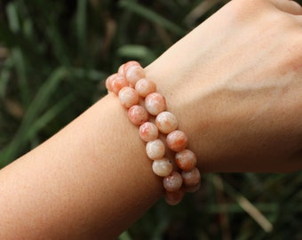 FREE SHIPPING Sunstone bead  bracelet