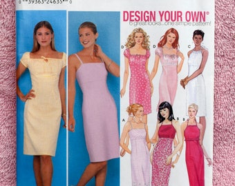 Girl Next Door Dress Pattern / Design Your Own Dress / Simplicity 9557 Sewing Pattern - UNCUT / Sheath Dress, Country Dress, Fitted 12-18