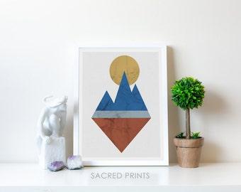 Large Geometric Digital Print, Set Of Three Printables, Large Nordic Decor, Gift Ideas, Large Scandi Poster, Geometric Mountain Downloadable