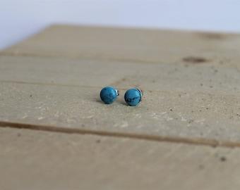 Stud Gemstone Earrings ; Turquoise Gemstone ; 6mm Stone ; Surgical Steel Stud Earrings