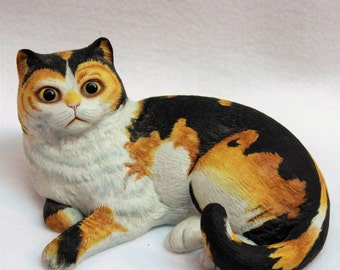 "Calico Cat ""Spellbound"" Porcelain Figurine - Limited Edition by Eric Tenney - Hand Painted - 1983 - Franklin Porcelain - Collectible"