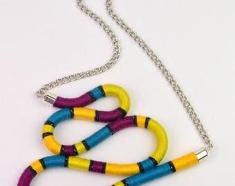 RIPPLE NECKLACE - rope necklace, multicolor statement necklace, textile, oversized bib, asymmetric, wave, multicolor, bright colors, chain