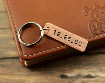 Date Keychain | Anniversary Date Gift  | Engagement Gift | Wedding Date | Bride Groom Wedding Gift | Copper Keychain | Personalized Key ring