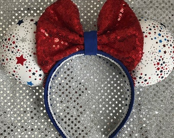 Memorial Day / 4th of July Red White & Blue Patriotic Minnie / Mickey Mouse Ears