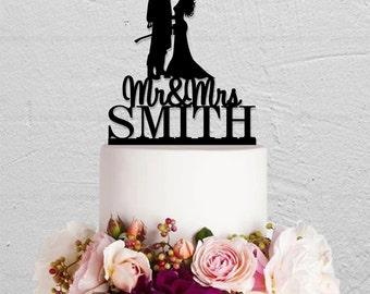 Wedding Cake Topper,Fireman Cake Topper,Custom Cake Topper,Bride And Groom Cake Topper,Mr And Mrs Cake Topper With Last Name