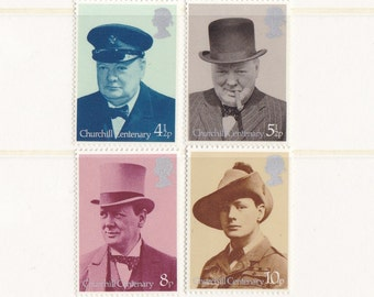 1974 Sir Winston Churchill; Vintage Postage Stamp Set from Great Britain;  WW2, Wartime, Centenary, Stamp Collection, MNH, Mint, Unused