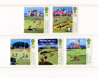 1994 Golf Mint Unused Vintage Postage Stamps set; sport, golfing, old course St Andrews, Carnoustie, sports, Turnberry, Royal Troon, club