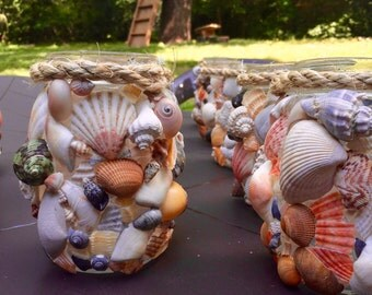 Set of 4 Sea Shell covered Mason Jars