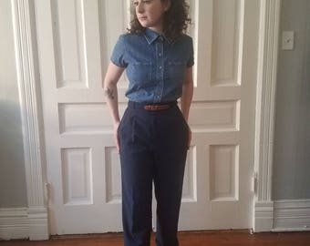 Vintage Happy Legs Womens Navy High Waisted Trouser Size 6