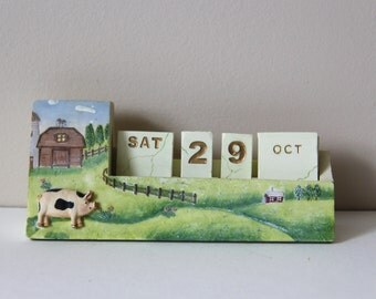 Vintage Perpetual Ceramic Calendar-Home Desk Table Decoration- Children Learning Time