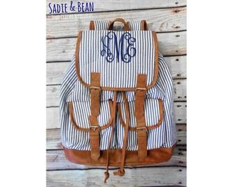 Diaper bag backpack, Backpack diaper bag, monogrammed backpack, monogrammed bag, personalized diaper bag, seersucker backpack,