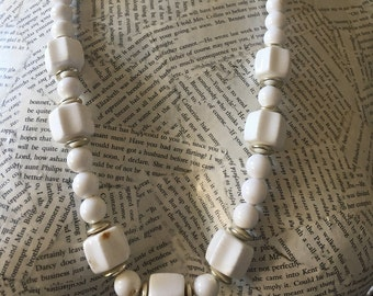 Vintage Long White Beaded Chunky Necklace