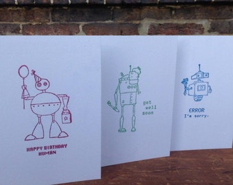 Robot Birthday Cards, I'm Sorry Cards, Get Well Soon Cards, Robot Stationary (Set of 10)