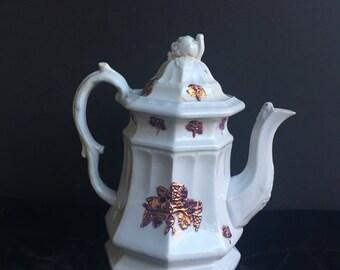 Edward Walley Ironstone Copper Lustre Grape Coffee Pot Mid 1800's