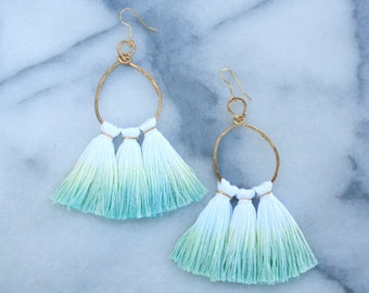 Ombre Dip Dye Tassel Earring, Hammered Brass Metal