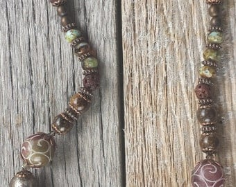 Carved agate with bronzite, czech glass beads and copper colored nickel free metal