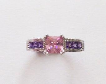 Vintage Pink Purple Swarovski Square Couple Promise Ring Size S