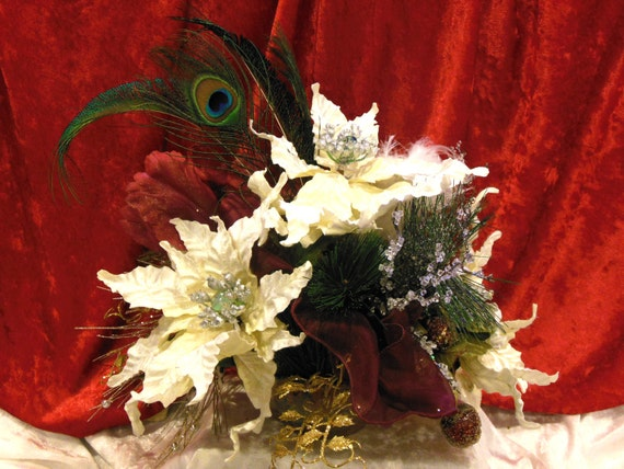 """Christmas Fabulosity Silk Floral Sparkling White Poinsettias with Parrot Tulip and Peacock Feathers in 6"""" Hand Painted Bowl"""