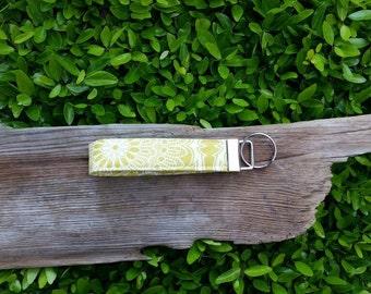 Lime green damask key fob   key lanyard   key wristlet  