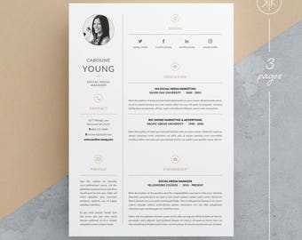 Caroline Resume/CV Template | Word | Photoshop | InDesign | Professional  Resume Design |  Resume In Indesign