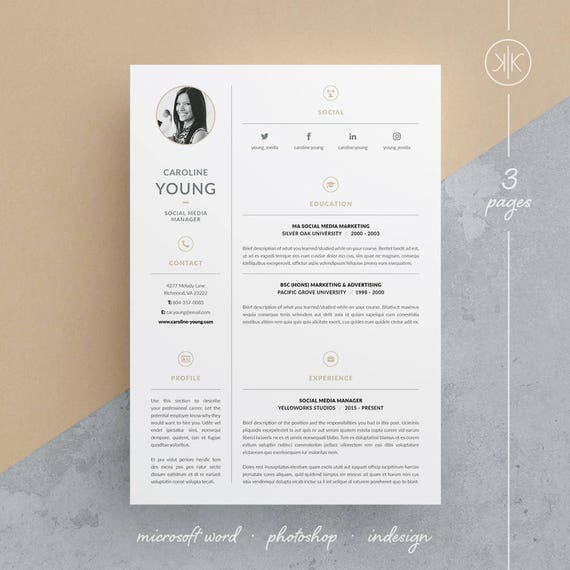 caroline resume  cv template word photoshop indesign