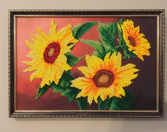 Sunflowers. Embroidered picture. Beadwork.