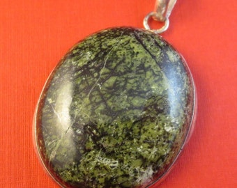 Vintage Epidote Necklace Pendant Larger Sized 925 Sterling Silver