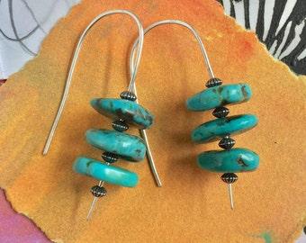Turquoise Earrings. Turquoise Hairpin Earrings. Turquoise and Silver Earrings. Turquoise Coin Beads Earrings. Chinese Turquoise Earrings.