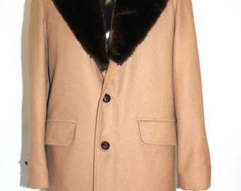 Vintage Men's Clothing • 70's Camel Wool Coat • Faux Fur Collar • Lined Overcoat • Lakeland