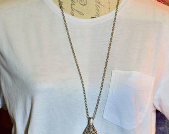 Vintage Gunmetal Silver Necklace with Pendant