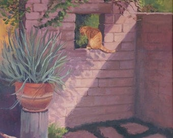 Original oil painting, entitled Guardian of the yard, 22x28