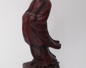 Carved wooden statue of a Chinese lady