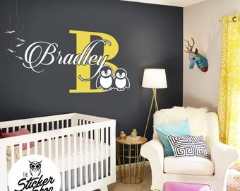 Nursery Decal - Custom Name with Cute Penguins