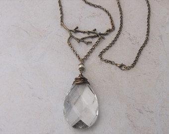 Vintage Crystal Pendant Necklace, Long Boho Necklace; Upcycled Jewelry; Tree Necklace